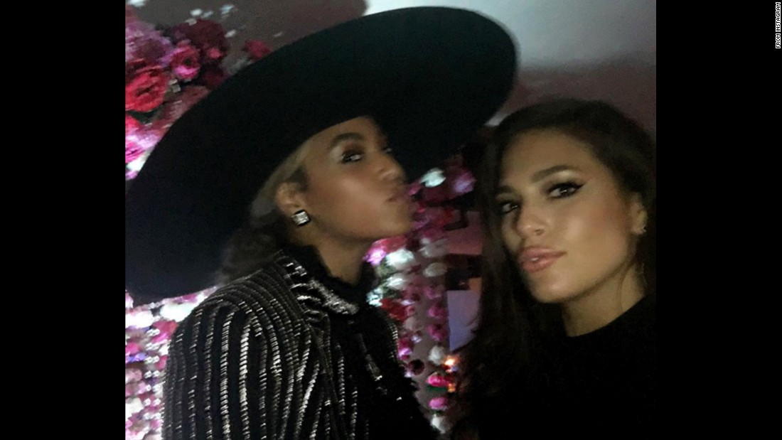 "Model Ashley Graham, right, takes a selfie with singer Beyonce at the CFDA Fashion Awards on Monday, June 6. ""It might be a little blurry, but Bey and I just had a moment!!"" <a href=""https://www.instagram.com/p/BGVrMCJTZ55/"" target=""_blank"">Graham said on Instagram.</a>"
