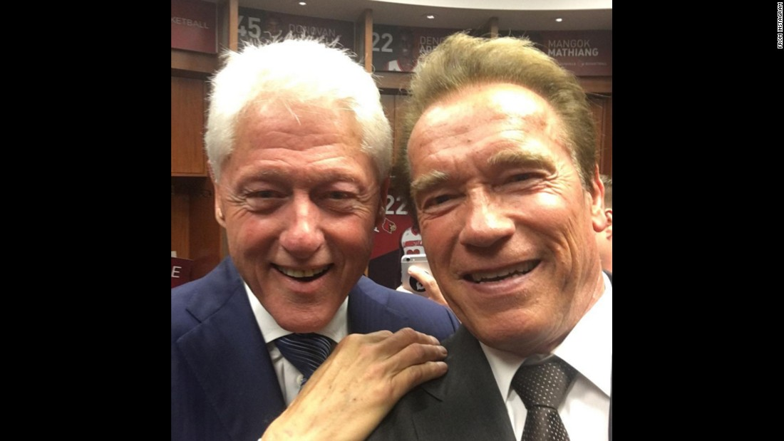 "Actor Arnold Schwarzenegger, right, snaps a photo with former U.S. President Bill Clinton on Friday, June 10. ""It was great to see my friend President Clinton who gave a fantastic eulogy of Muhammad Ali at <a href=""http://www.cnn.com/2016/06/10/us/gallery/muhammad-ali-funeral/index.html"" target=""_blank"">a beautiful memorial</a> that reminded all of us that Ali's greatest gift was bringing people together,"" <a href=""https://www.instagram.com/p/BGffBUojcVk/"" target=""_blank"">Schwarzenegger said on Instagram.</a>"