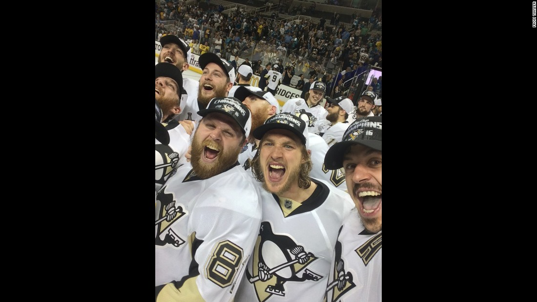 "Hockey star Evgeni Malkin, right, <a href=""https://twitter.com/malkin71_/status/742315722924134400"" target=""_blank"">takes a selfie</a> with his Pittsburgh Penguins teammates Phil Kessel, left, and Carl Hagelin after they won the Stanley Cup on Sunday, June 12."