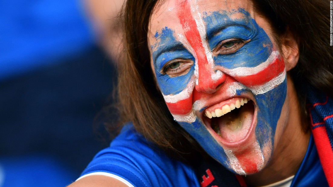 An Iceland fan cheers on the national soccer team before its 2-1 win over England in Euro 2016. See more fan photos -- one from each team in the tournament.