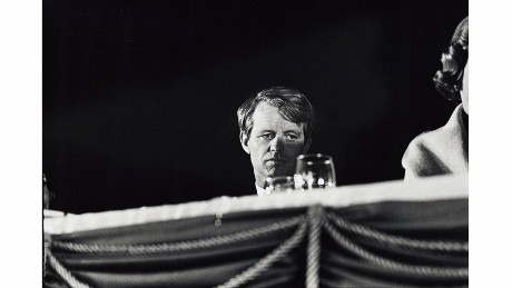 "Kennedy at the Arizona Biltmore Hotel during his 1968 presidential campaign. ""This image has haunted me since his assassination,"" Kennerly said. ""What was he thinking in that moment?"""
