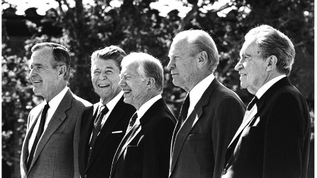 Five Presidents appear together at the dedication of the Reagan Presidential Library in 1991. From left are President George H.W. Bush and former Presidents Ronald Reagan, Jimmy Carter, Gerald Ford and Richard Nixon.