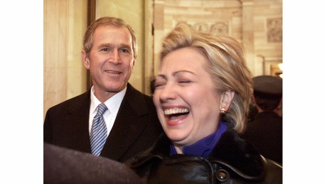 "Hillary Clinton reacts to a comment made by President Bush minutes after his inauguration in 2001. ""Customarily, the new President and first lady escort the outgoing couple to a waiting helicopter, but Sen. Clinton didn't leave for long,"" Kennerly said."