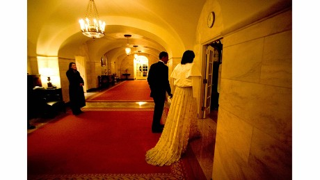 President Barack Obama and first lady Michelle Obama return to the White House late after attending an inaugural ball in 2009.