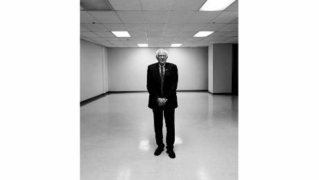"A photo session with Sen. Bernie Sanders at the Los Angeles Sports Arena in August. The photo ""underscores the impression of a man standing alone against the favorite,"" Kennerly said. ""He fought Hillary Clinton down to the wire."""