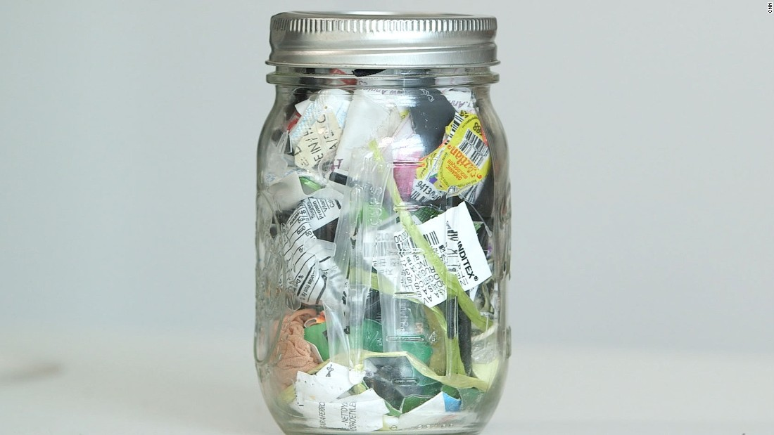 "Lauren Singer started living a zero-waste lifestyle in 2012. This jar holds everything she hasn't been able to reuse or recycle for the past four years. The New Yorker set up <a href=""http://www.thesimplyco.com/"" target=""_blank"">www.thesimplyco.com</a> and her <a href=""http://www.trashisfortossers.com"" target=""_blank"">blog</a> to help spread the zero waste message."