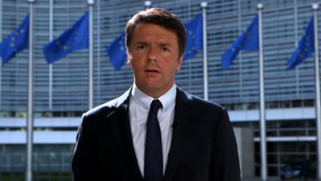 Matteo Renzi  Italian Prime Minister  Brussels  speaking with Amanpour.