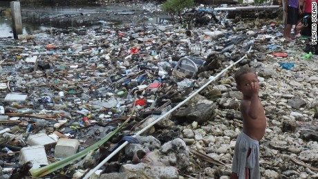Plastic waste in Tuvalu.