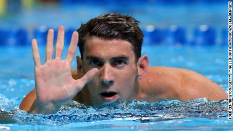 Michael Phelps reacts after booking his place on the U.S. swimming team for the 2016 Olympic Games.