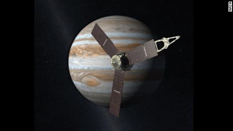 This artist rendering shows Juno orbiting Jupiter. The spacecraft will study Jupiter from a polar orbit, coming about 3,000 miles (5,000 kilometers) from the cloud tops of the gas giant.