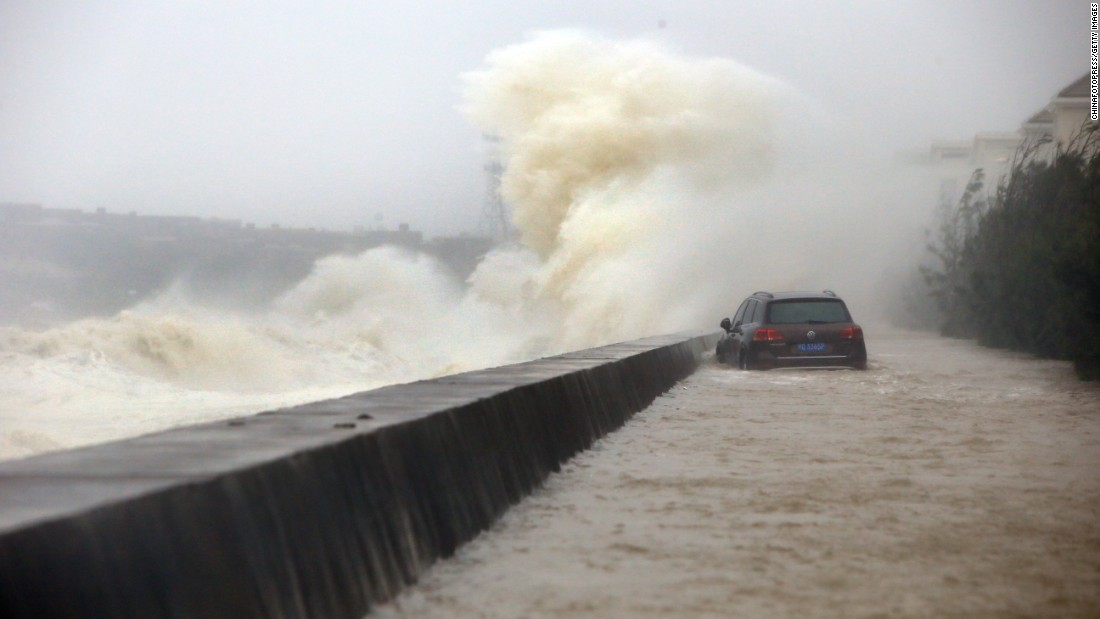 Strong waves brought by Typhoon Dujuan hit breakwater on September 29, 2015 in Quanzhou, China.