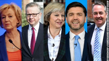 Conservative Party leadership candidates Andrea Leadsom, Michael Gove, Theresa May, Stephen Crabb and Liam Fox. By Tuesday night, Crabb and Fox were no longer candidates for the position.
