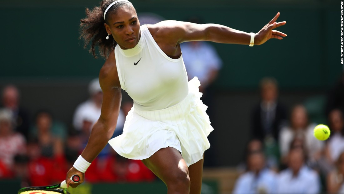 World No. 1 Serena Williams sported a high-necked Nike number designed especially for her instead.