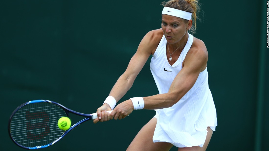 Czech star Lucie Safarova is exposed by her dress in a shot that is being repeatedly played out at the 2016 Wimbledon Championships.