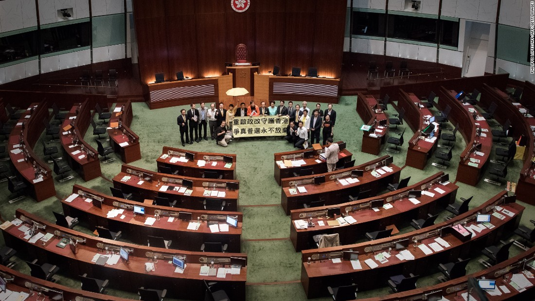 "<strong>Reform fails: </strong>An attempt by the government to <a href=""http://cnn.com/2015/04/22/china/hong-kong-electoral-reform-proposal/"">pass limited political reform</a> ends in embarrassing failure on June 18, 2015 when a botched walkout by pro-establishment lawmakers results in the motion being defeated 28-8."