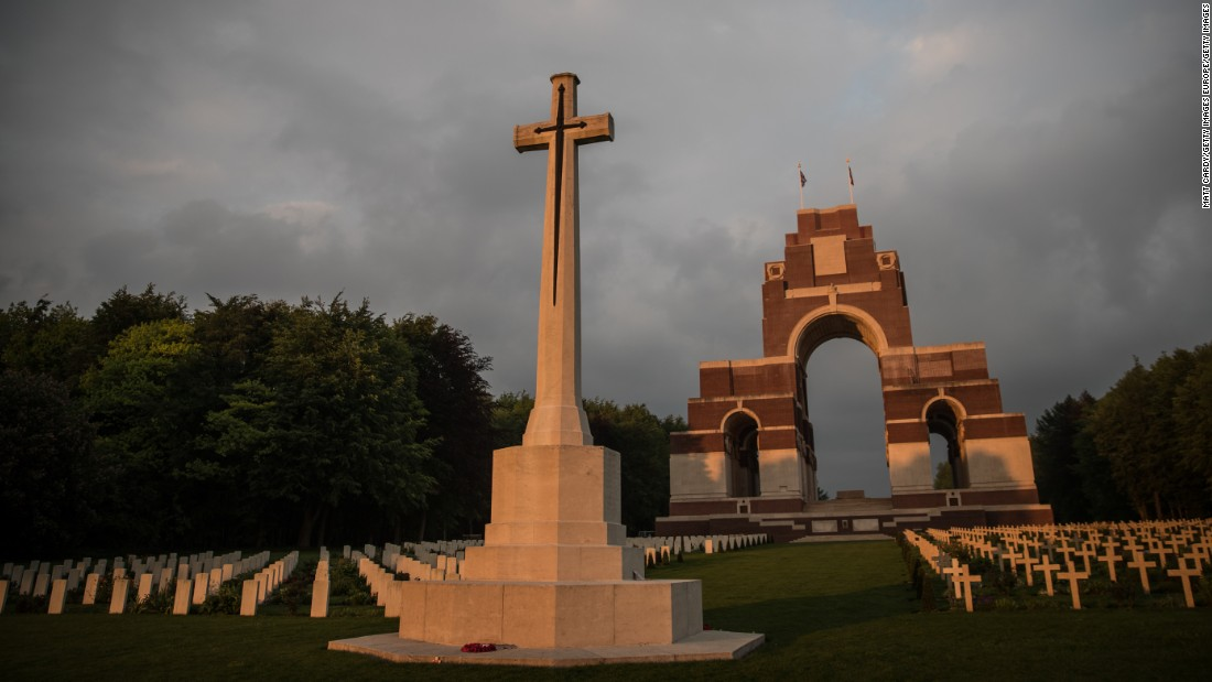 The late-evening sun illuminates the Thiepval Memorial to the Missing of the Somme near Albert, France, on May 16. The memorial was designed by Sir Edwin Lutyens and unveiled in 1932.