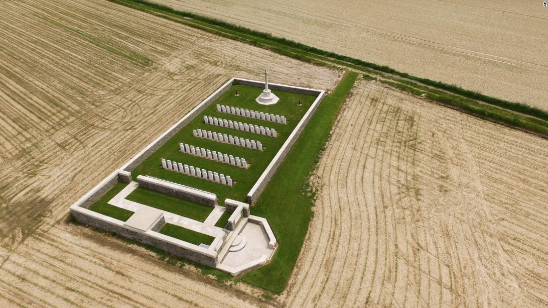 An aerial photo taken on June 10 shows the World War I Munich Trench cemetery in Thiepval, France. The cemetery is one of many that dot the vast landscape, containing graves of soldiers who died during the Battle of the Somme.