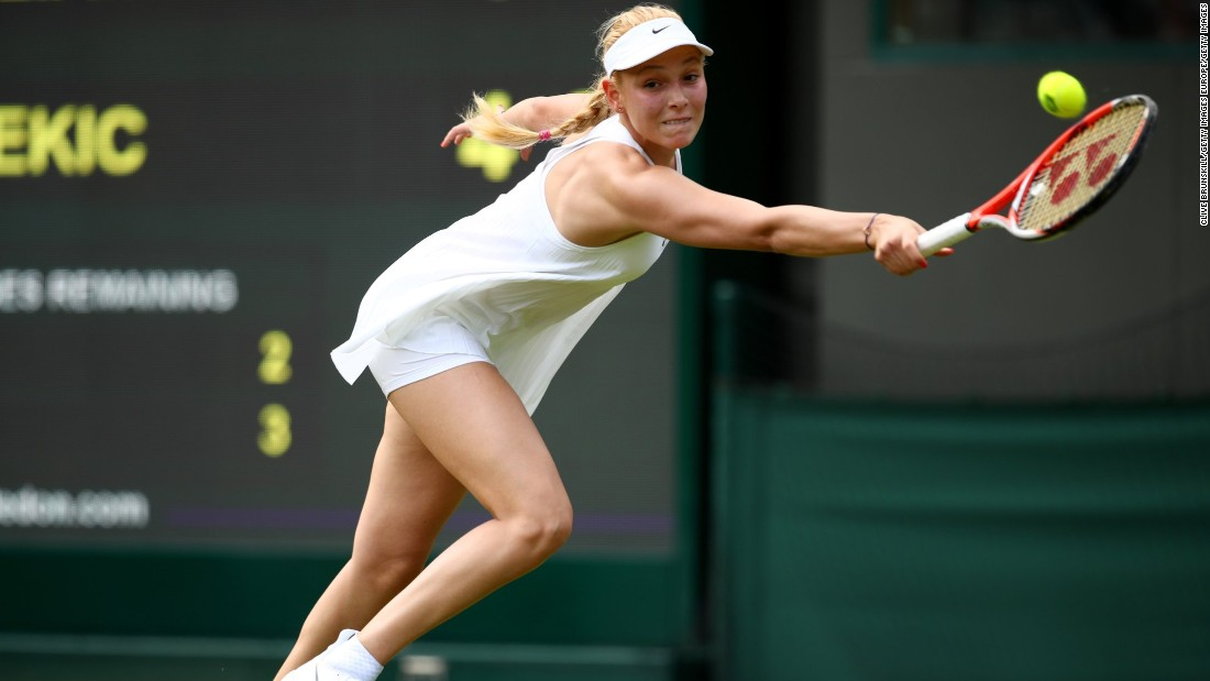 Croatia's Donna Vekic sported the controversial Nike dress, which was criticized for being too revealing.