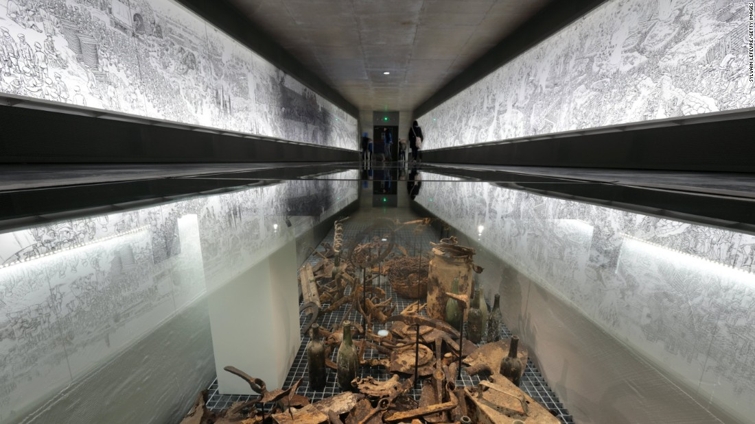 "On exhibition at the new extension of the Thiepval Memorial Visitor Center is an installation of battle artifacts and a 60-meter-long illustrated panorama by Joe Sacco titled, ""The Great War, the first day of the Battle of the Somme."""