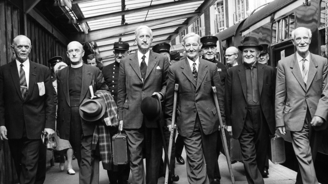 A view of the six holders of the Victoria Cross and survivors of the Battle of the Somme are seen in London around 1950.