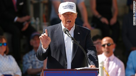 Republican presidential candidate Donald Trump speaks at a town hall-style campaign event at the former Osram Sylvania light bulb factory, Thursday, June 30, 2016, in Manchester, New Hampshire.