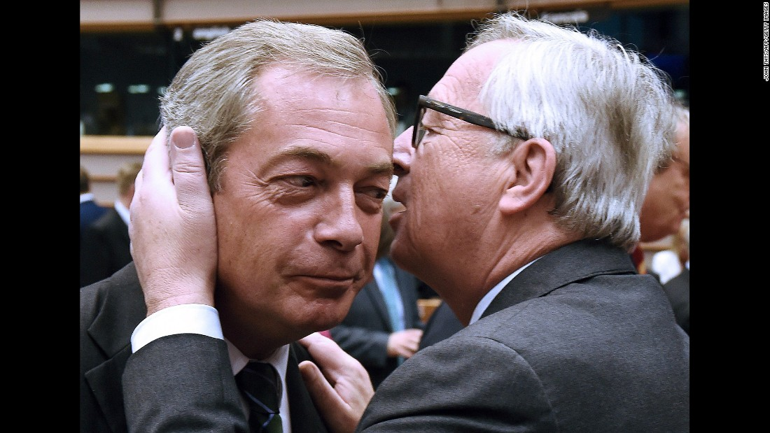 "<strong>June 28:</strong> Jean-Claude Juncker, president of the European Commission, speaks to Nigel Farage, leader of the UK Independence Party, at a meeting of the European Parliament in Brussels, Belgium. Farage, the most vocal architect of Britain's seismic decision to leave the European Union, gloated to the Parliament as members booed and turned their backs on him. Juncker <a href=""http://www.cnn.com/2016/06/28/europe/uk-brexit-eu-referendum/"" target=""_blank"">fired back</a> in his own speech. ""You were fighting for the exit, the British people voted in favor of the exit. Why are you here?"" he said."
