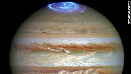 NASA's Hubble Space Telescope captured images of Jupiter's auroras on the poles of the gas giant. The observations were supported by measurements taken by NASA's Juno spacecraft.