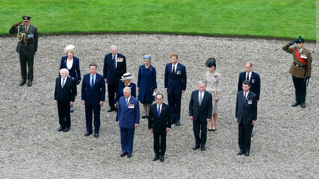 Prince Charles, French President Francois Hollande, Irish President Michael D Higgins, British Prime Minister David Cameron, Camilla, Duchess of Cornwall, the Duke and Duchess of Cambridge, and Prince Harry are seen are pictured at the Thiepval Memorial where 70,000 British and Commonwealth soldiers with no known grave are commemorated.