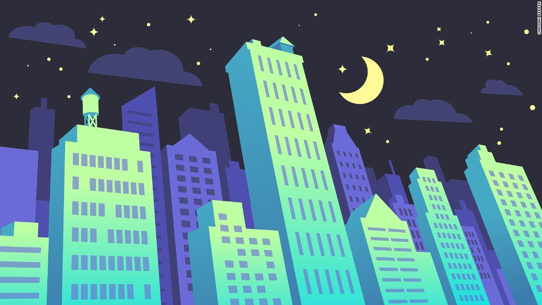This illustration imagines a future in which streets are lined with luminous buildings.