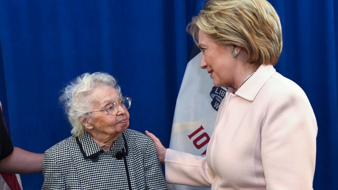 "Ruline Steininger, 103, was one of the first people in Iowa to vote for Hillary Clinton <a href=""http://www.cnn.com/2016/09/30/politics/103-ruline-steininger-hillary-clinton/index.html"">in September</a>. The former schoolteacher, who cast her first vote for Franklin D. Roosevelt in 1936, said that staying politically active kept her young but also <a href=""http://www.desmoinesregister.com/story/news/elections/presidential/caucus/2016/01/29/iowan-ruline-steininger-hillary-clinton-presidential-vote/79528196/"" target=""_blank"">told her local paper</a> that the secret to her long life was ""I just keep not dying."" She eventually did, in February."