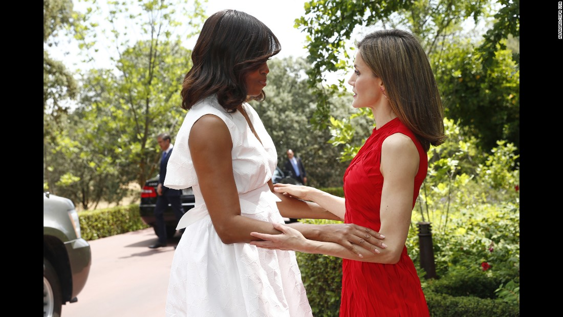 Spain's Queen Letizia, right, greets U.S. first lady Michelle Obama at Madrid's Zarzuela Palace on Thursday, June 30. Obama was in Spain to promote her Let Girls Learn initiative.