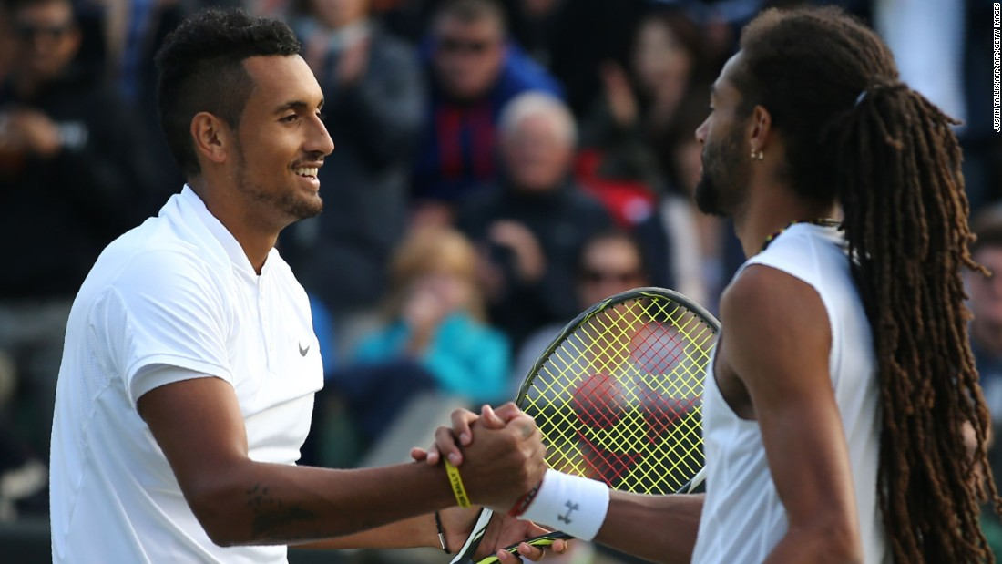 Nick Kyrgios, left, beat Dustin Brown in a short five-setter. It lasted two hours, five minutes.
