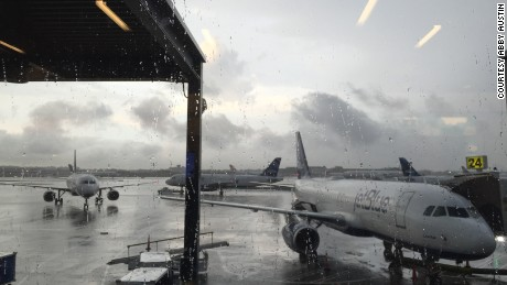 Flights are delayed at John F. Kennedy International Airport in New York during a tornado watch.