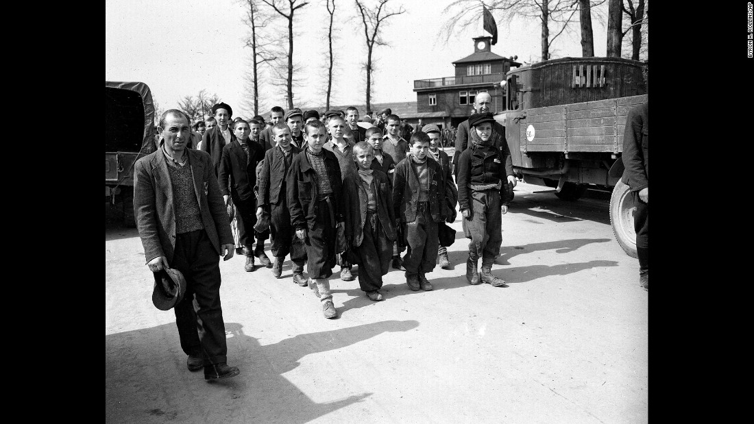 Children and other prisoners liberated by the U.S. Army leave Buchenwald concentration camp near Weimar, Germany, in April 1945. The tall youth in the line at left, fourth from the front, is Elie Wiesel, who died Saturday, July 2, 2016, at age 87.