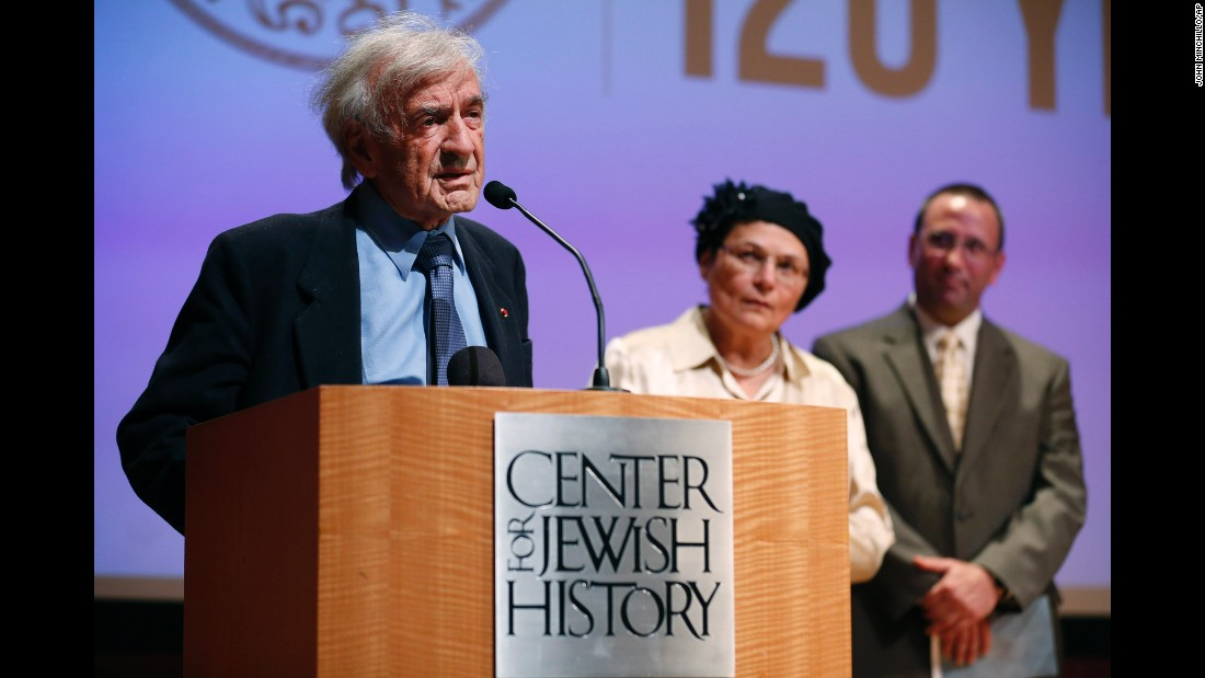 Elie Wiesel addresses the audience before presenting the Emma Lazarus Statue of Liberty Award to Avital Sharansky, center, at the Center for Jewish History on May 28, 2013, in New York.