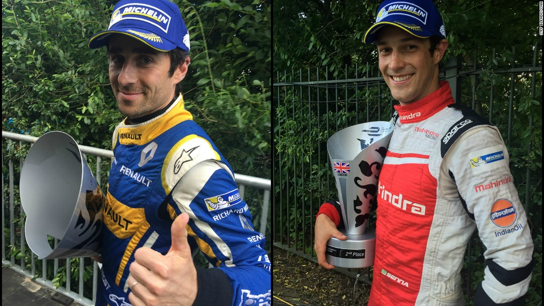 Nico Prost (left) and Bruno Senna clutching their trophies after the first ePrix of the weekend.