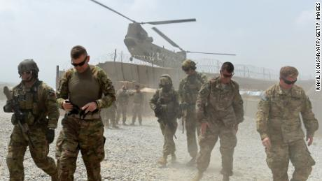 US Army soldiers at Forward Operating Base (FOB) Connelly in the eastern province of Nangarhar,  where a US  soldier was killed Tuesday.