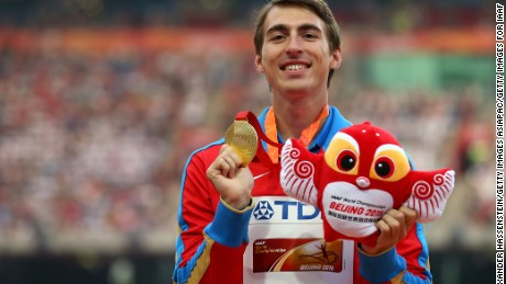 BEIJING, CHINA - AUGUST 29:  Gold medalist Sergey Shubenkov of Russia poses on the podium during the medal ceremony for the Men's 110 metres hurdles final during day eight of the 15th IAAF World Athletics Championships Beijing 2015 at Beijing National Stadium on August 29, 2015 in Beijing, China.  (Photo by Alexander Hassenstein/Getty Images for IAAF)