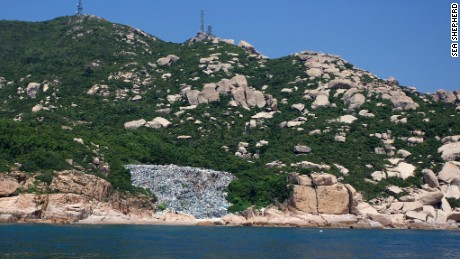 A large trash dump seen on Wai Ling Ding island.