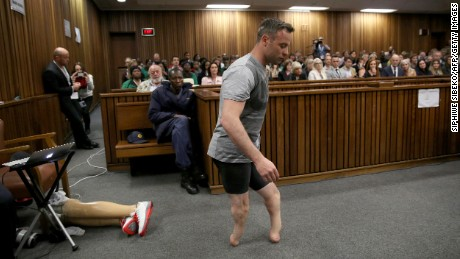 Oscar Pistorius, without his prosthetic legs during his hearing last month in Pretoria.