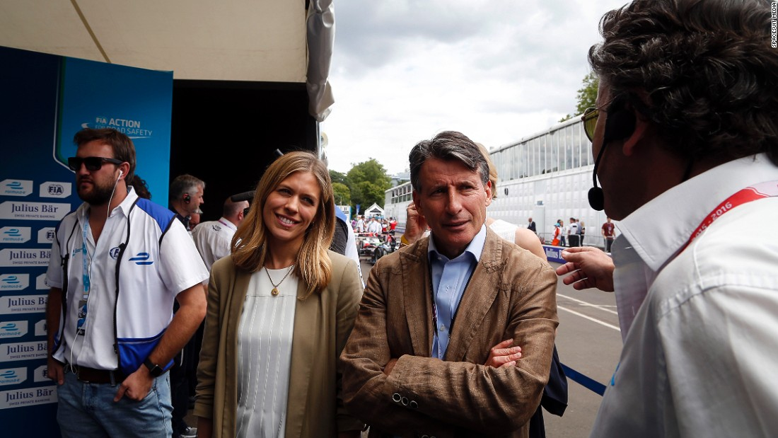 IAAF president Sebastian Coe was one of the VIP guests who attended Sunday's final Formula E race of the 2015-16 season in Battersea Park.