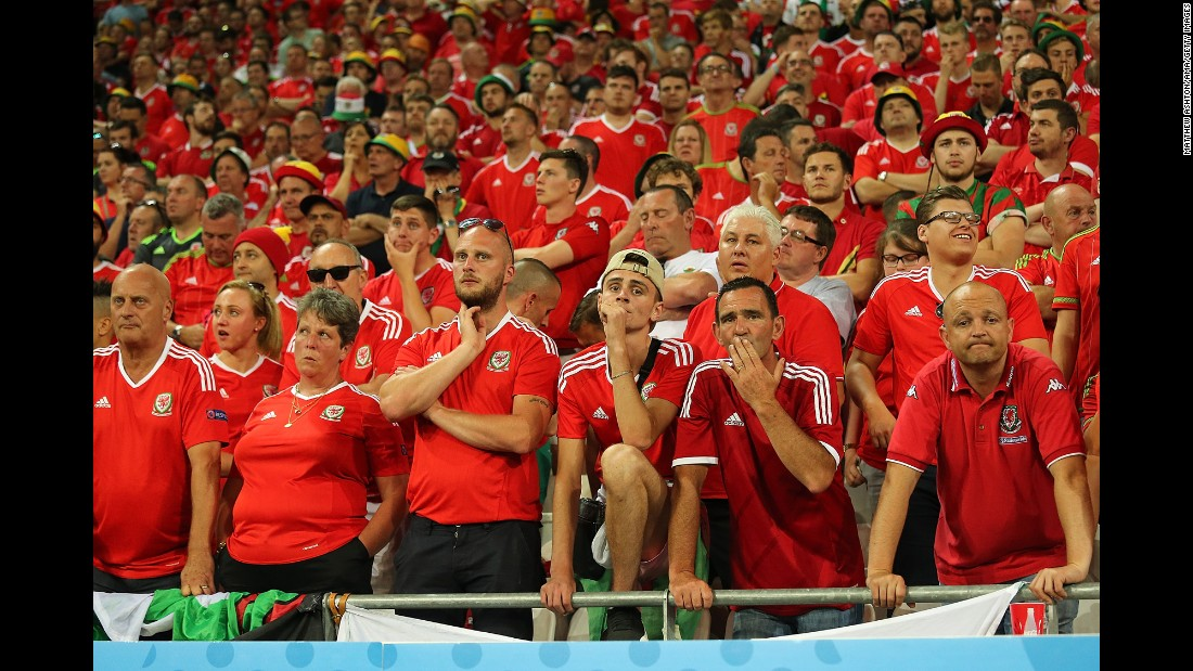 Wales' fans look dejected during the match.