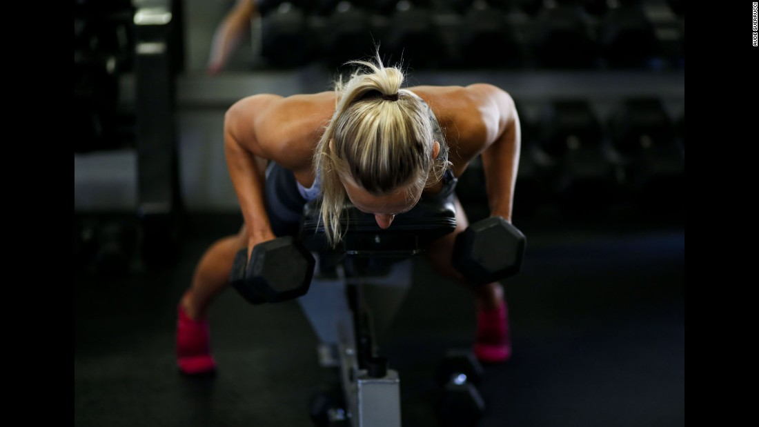 Koroleva lifts weights. She also just got her master's degree and is working several hours a week at a retail sport company, photographer Aude Guerrucci said.