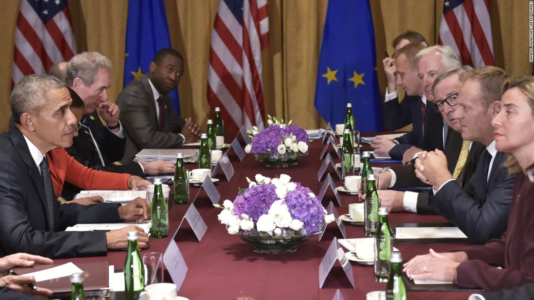 Obama meets European Council President Donald Tusk, third from right; European Commission President Jean-Claude Juncker, fourth from right; and EU High Representative for Foreign Affairs and Security Federica Mogherini, right, on the sidelines of the NATO summit at a hotel in Warsaw on July 8. The Polish capital hosted a two-day NATO summit, the first time it hosted a top-level meeting of the Western military alliance that it joined in 1999.