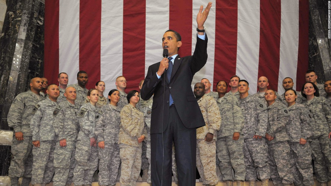 President Barack Obama is scheduled to visit the U.S. naval installation in Rota, Spain, on Sunday. Here he is during a visit on April 7, 2009, to Camp Victory in Baghdad, Iraq.