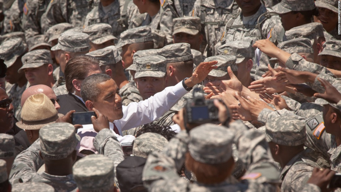 U.S. President Barack Obama greets soldiers at the Army's Fort Stewart on April 27, 2012, in Hinesville, Georgia. This was Obama's first trip to Fort Stewart, where he met with soldiers and their families.