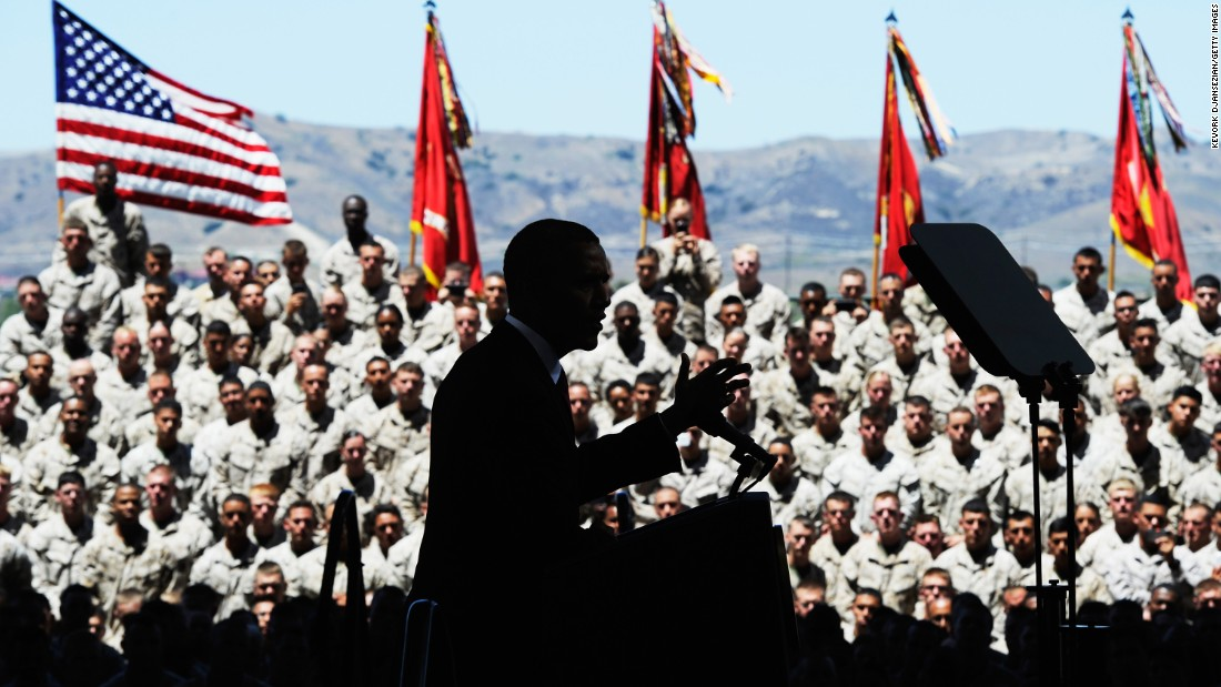 U.S. President Barack Obama delivers remarks during his visit at Camp Pendleton Marine Corps base with troops and their families to thank them for their service, on August 7, 2013, at Camp Pendleton, California.