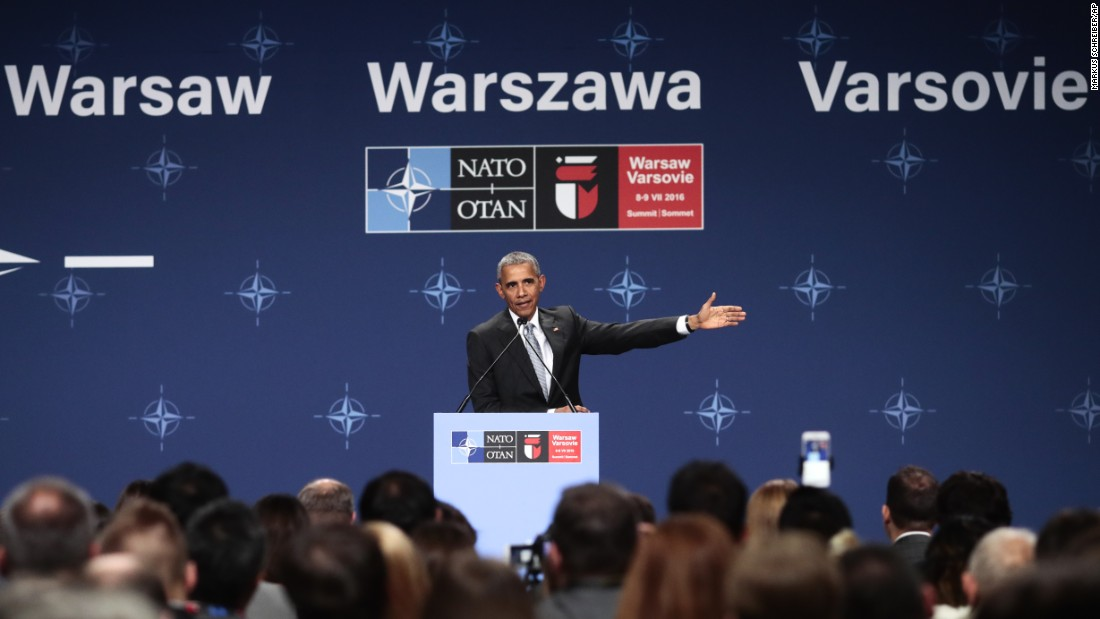 "U.S. President Barack Obama speaks at a news conference at the NATO summit in Warsaw, Poland, on Saturday, July 9. Obama spoke for the third time from Poland <a href=""http://www.cnn.com/2016/07/09/politics/obama-says-u-s-not-as-divided-as-some-have-suggested/index.html"" target=""_blank"">on the the gun violence that's seized communities in the United States.</a> Obama and other NATO leaders attended a second day of a summit meeting in Warsaw expected to lead to decisions about Afghanistan, the central Mediterranean and Iraq."