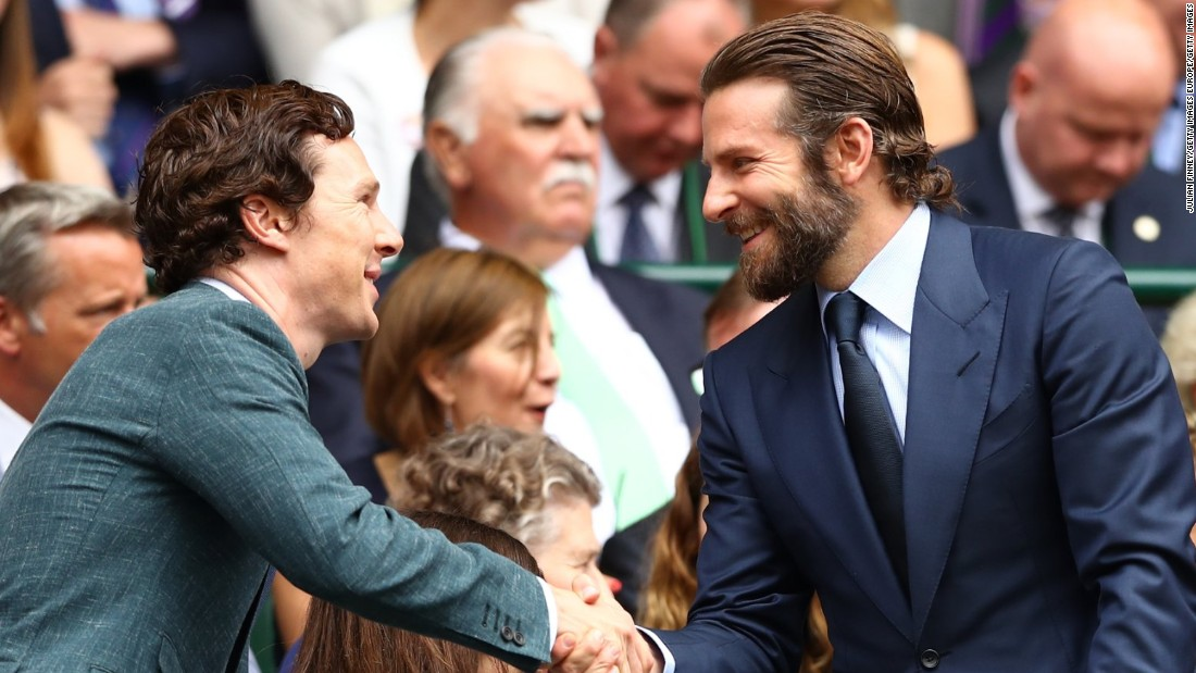Acting duo Benedict Cumberbatch and Bradley Cooper were both taking in the game and had a quick chat ahead of the action.