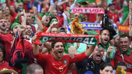 PARIS, FRANCE - JULY 10:  Portugal fans enjoy the atmosphere prior to the UEFA EURO 2016 Final match between Portugal and France at Stade de France on July 10, 2016 in Paris, France.  (Photo by Matthias Hangst/Getty Images)